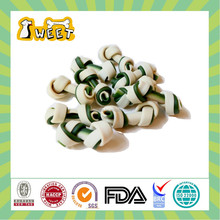 Eco-friendly 12-14g cheese & mint flavor 2-color knotted bone