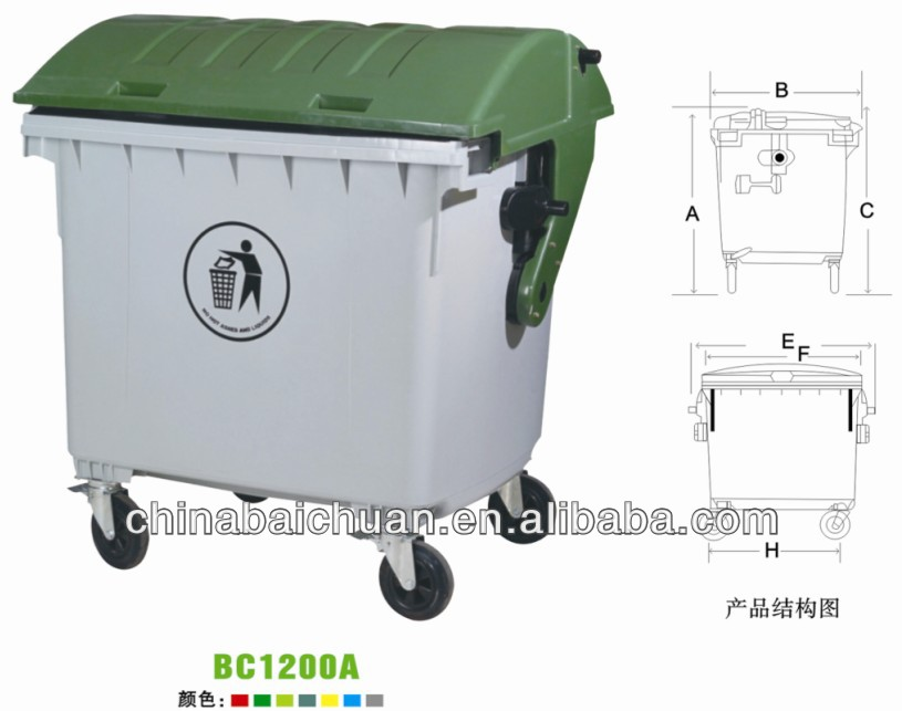 1100L, 1200L,outdoor plastic wheelie dustbin, square body square cover,with footboard or not,garbage can,