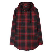 Flannel long casual plaids shirt with hoody