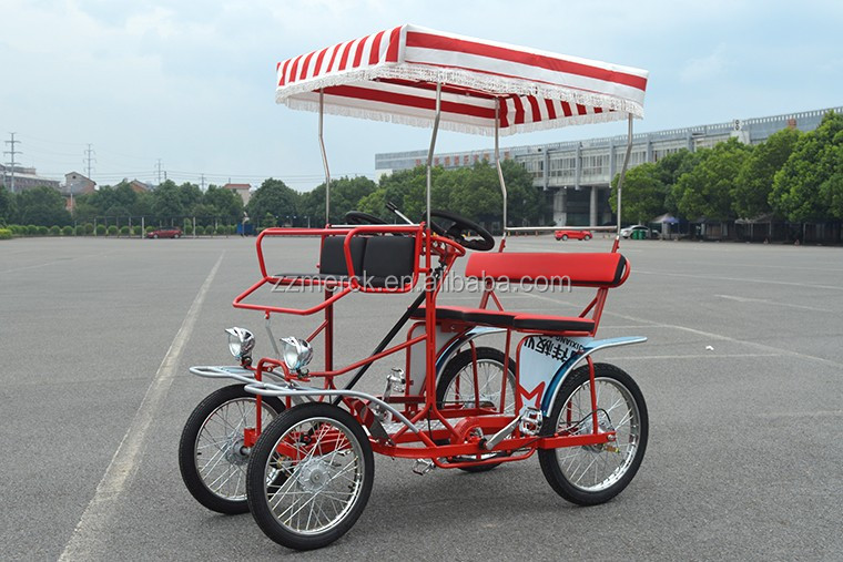 Free Spare Parts Beach Cruiser Pedal Quadricycle For Sale, Sightseeing 4 Person Surrey Tandem Bike