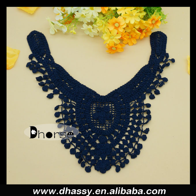 Alibaba supplier cotton DHDC1734 cotton crochet neck embroidery design collar patterns for dresses