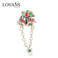 925 Silver Old Fashioned Charm Bracelets Christams Bell Custom Metal Logo Beads Charms S271