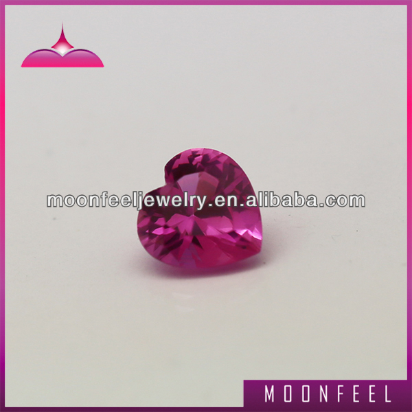 High quality 3# human heart shape rough ruby synthetic corundum