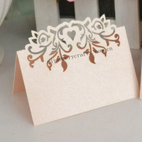 laser cut custom names wedding card/sweet love place cards wedding banquet table decorations