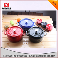 red black blue cast iron casserole looks cooking pots