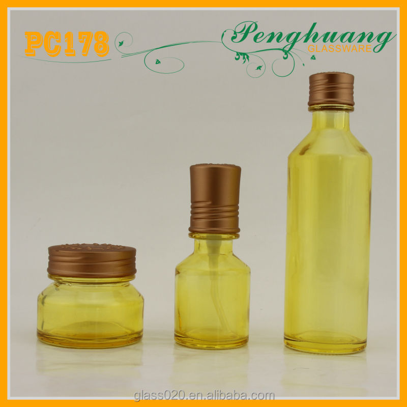 yellow color glass cosmetic bottles and jars/colored cosmetic packaging