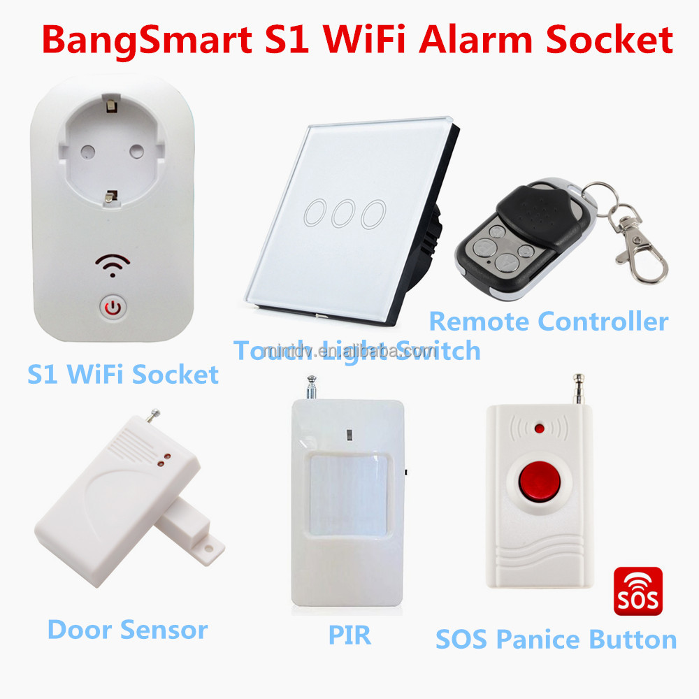 2200W 10A WiFi Smart Power Socket Compatible With 433MHz Wireless Detectors in Home Alarm System & RF Remote Controller