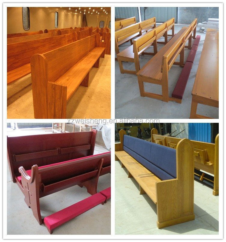 High quality solid wooden church pew with fabric cushion,WCP003