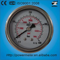 (YTN-60Z) 60mm stainless steel case and brass connection liquid filled water pressure test gauge