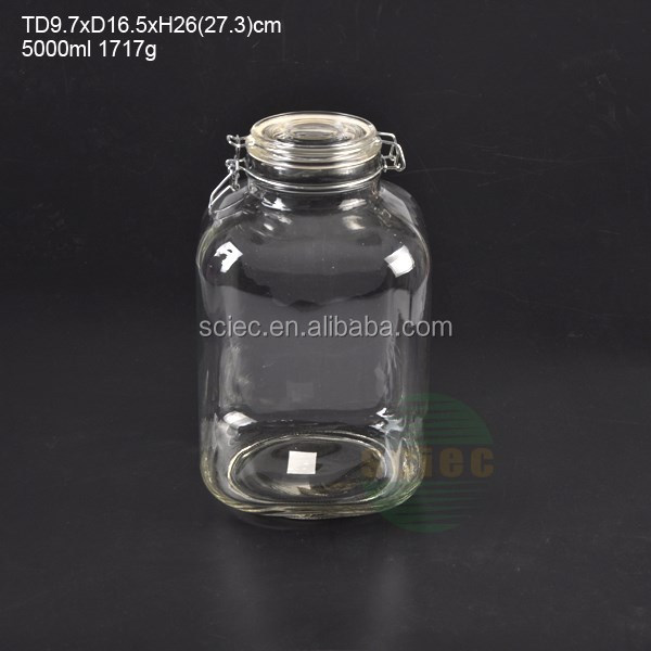 wholesale 5000ml storage jar &glass lid with metal clip and rubber /silicon ring