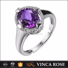 Signle natural amethyst ally express cheap wholesale design rings silver 925