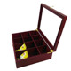 Custom 8 compartment hinged bamboo tea box wooden tea gift box with laser logo