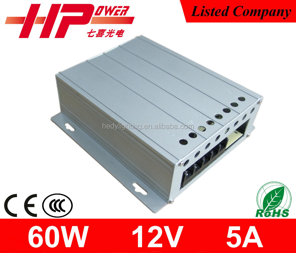 Guangzhou manufacturer aluminum casing 2 years warranty AC DC constant voltage 60w 5 ampere 12v 220v dc power supply
