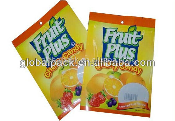 cute design candy plastic packaging bag ,snack bag with hanghole