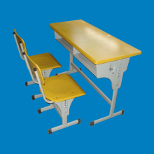single or double-seat student desk and chair with hooks as study table for school furniture