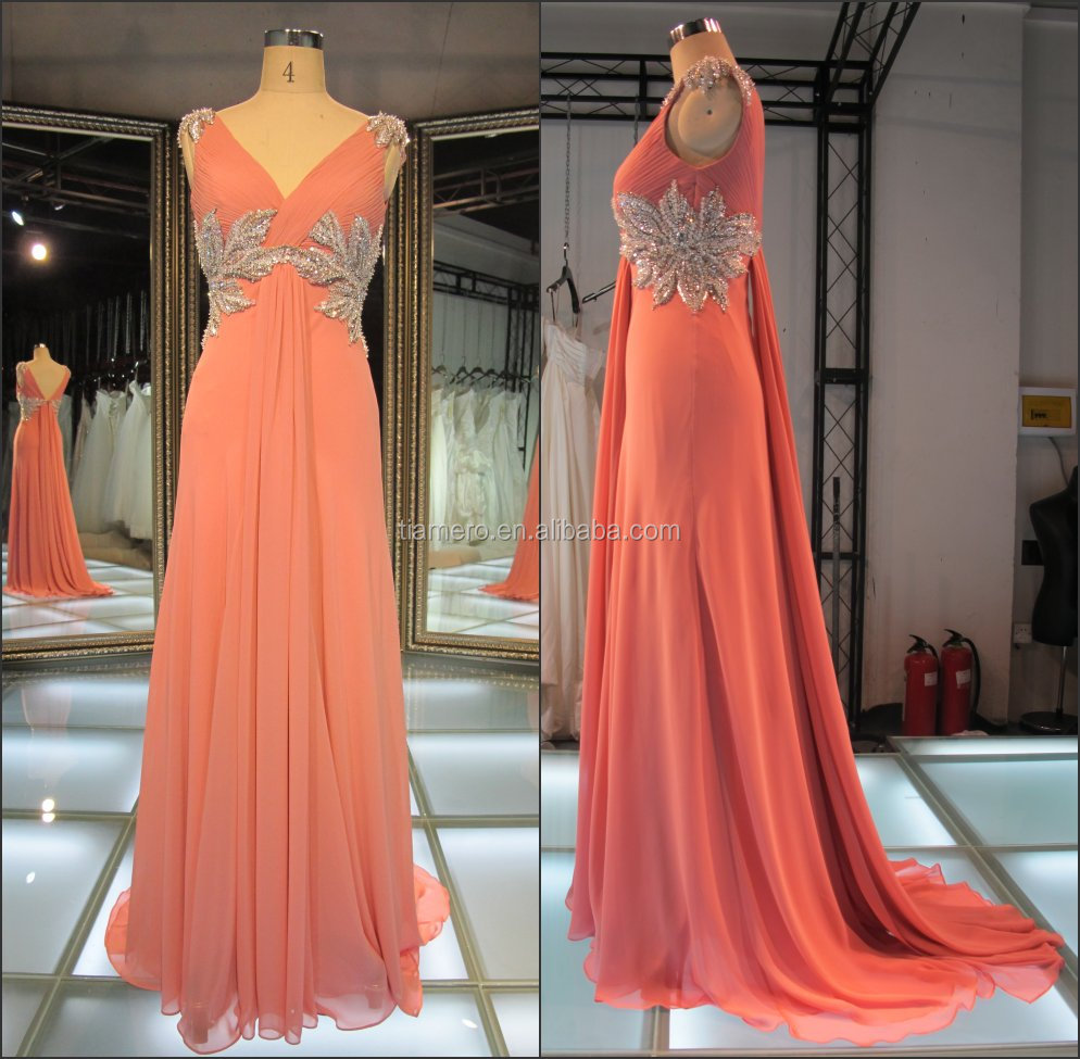 Newest v-neck peach color bead flower gorgeous formal/evening dress pattern/ real sample evening dress