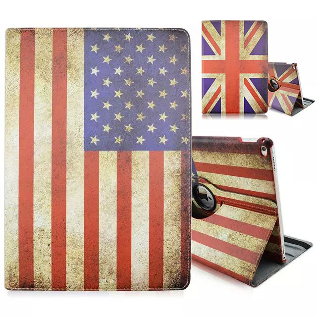 US UK National Flag Print 360 Rotary Flip Leather Stand Cover Case For iPad Pro