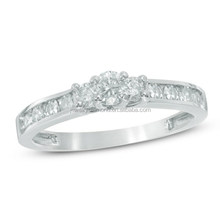 1/2 Ct. T.w. Diamond Three Stone Engagement Ring In 10K White Gold