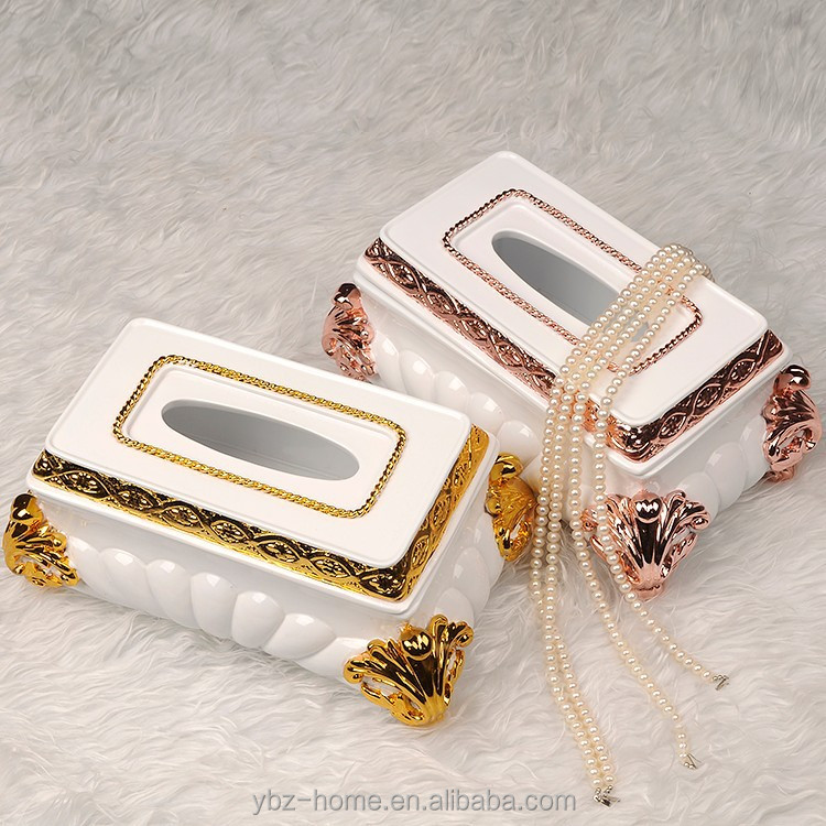 2015 new products noble and shining rose gold tissue box desk ornaments