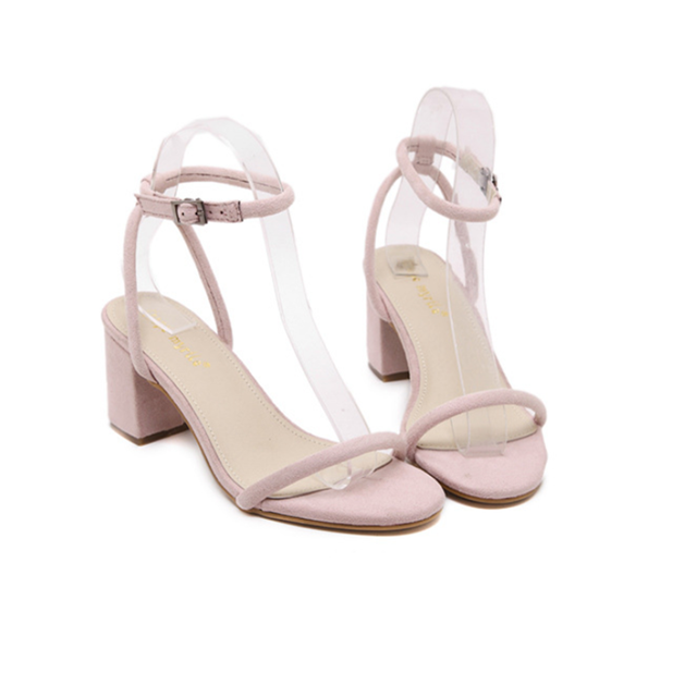 Fashion Sandals Women Summer Shoes Square heel PINK