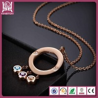 Big circle crystal 3 color treasure necklace best friend jewelry for adults