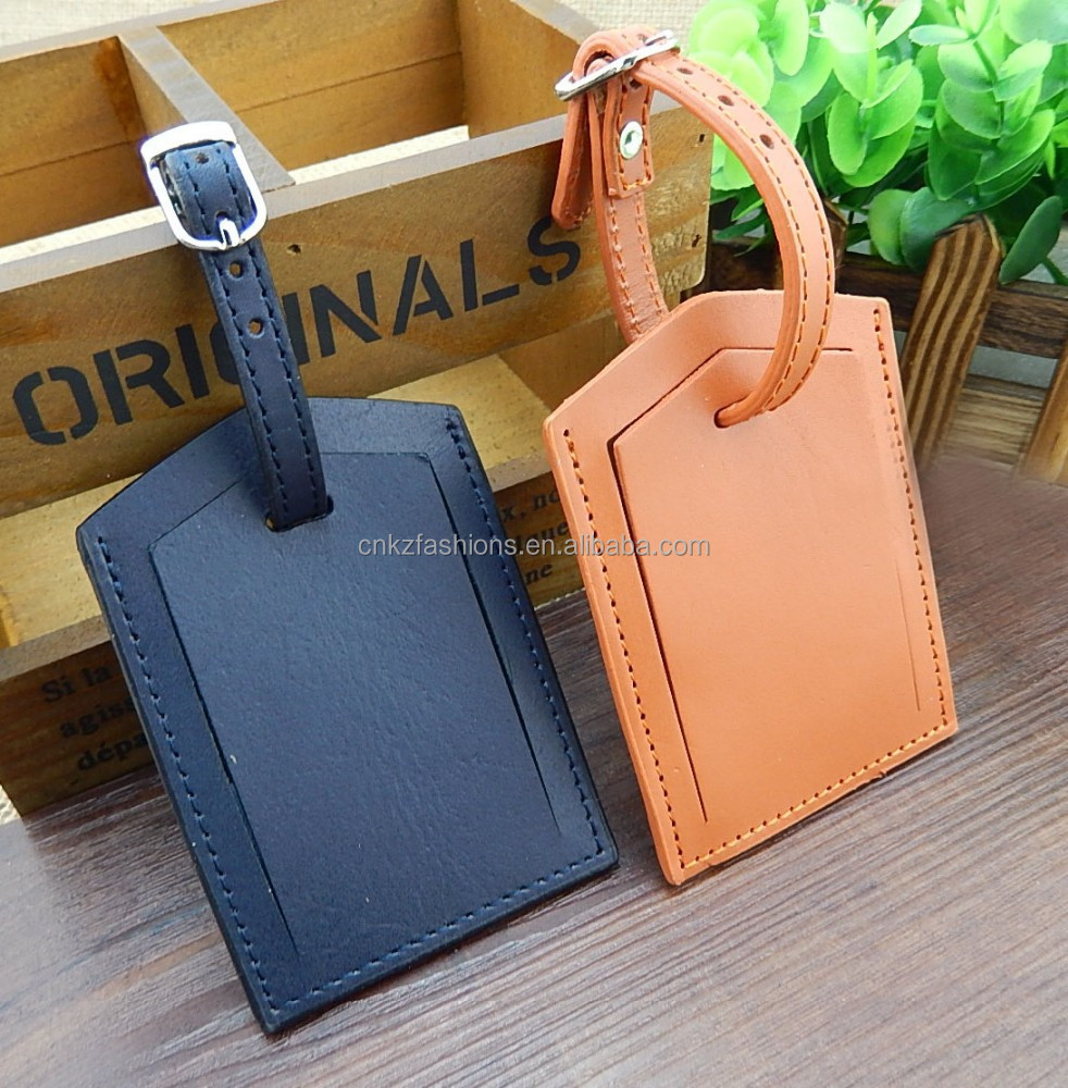 Hand Stitched Personalized Double Sided Leather Luggage Tag - Buy ...