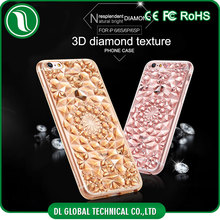 Luxury 3d crystal tpu case for iphone 6s phone diamond shape soft feeling crystal mobile back cover
