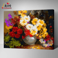 still life flowers paint by numbers modern oil painting