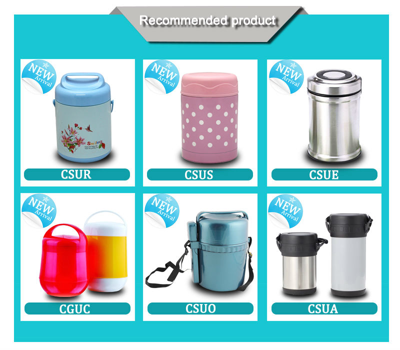 Convenient use with strap and spoon thermos insulated food warmer container for hot food (CPUH)