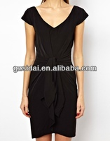 new designs fashionable ladies cap sleeves peplum party dress