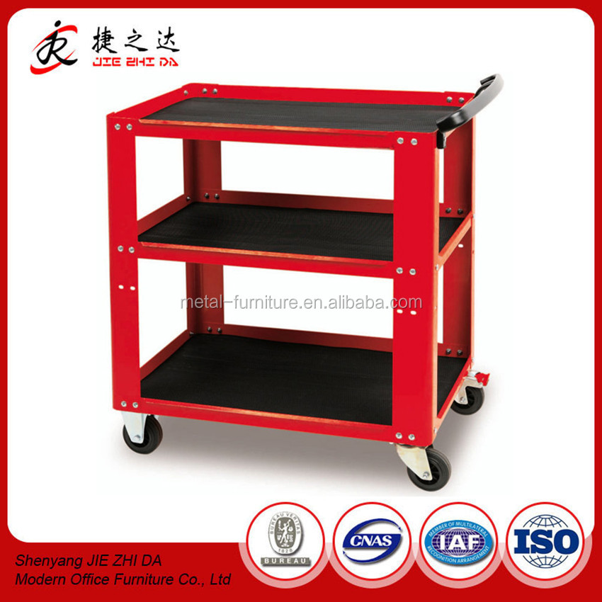 JZD Furniture Garage Collapsible Simple Design Tool Cart Rolling Tool Trolley with 3 shelves