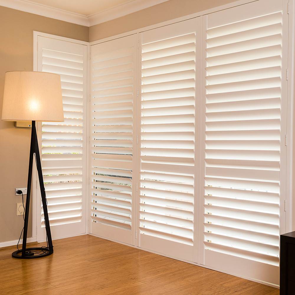 Custom white outdoor wood window blinds folding plantation window shutters