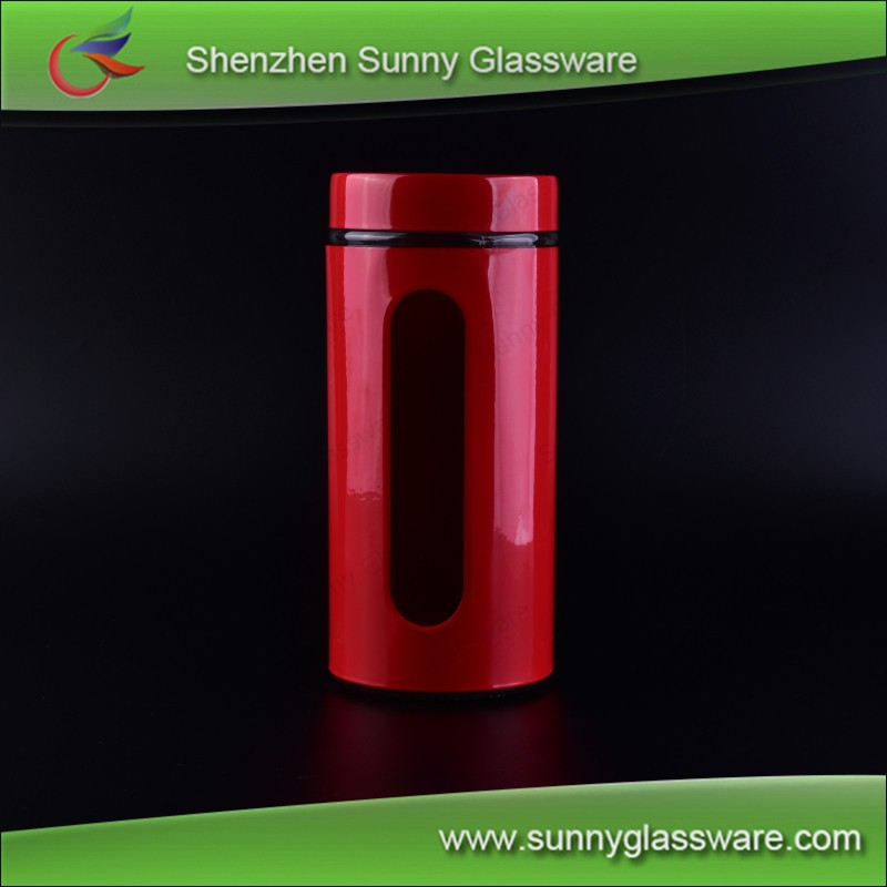 Glass storage jar with metal cover and lid, red glass jars