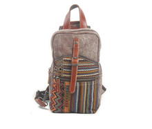 Women's Stylish Elegant Khaki Canvas and Leather Backpack Style Purse with Ethnic Embroidery