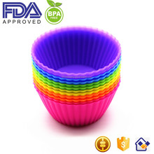 Reusable Colorful BPA free Silicone Round Muffin Cups