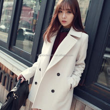 monroo China made knee length winter double breasted women coat