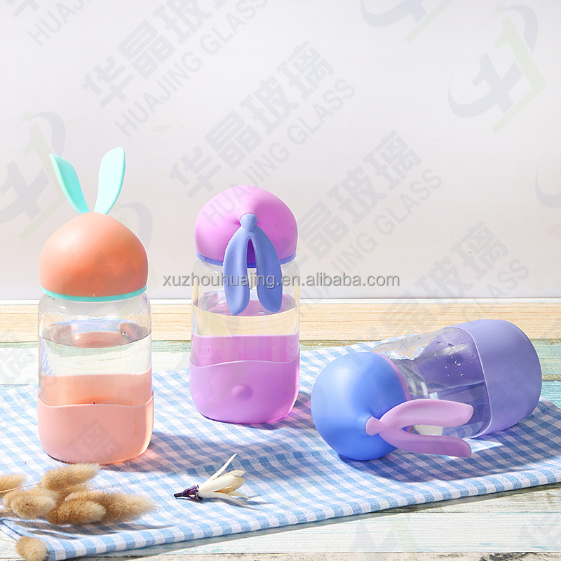 rabbit hear shape caps glass water bottle with rubber coat