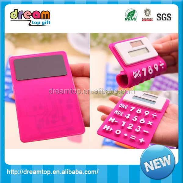 Cheap pocket flexible solar mini silicone calculator