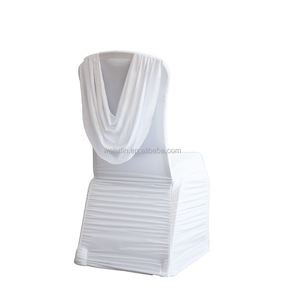Guangzhou manufacturer white high spandex/polyester ruffled wedding chair cover