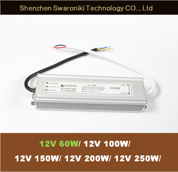 Constant Voltage 12V 5A Waterproof Power Supply 12V 60W LED Transformer with FCC CE ROHS Certifications