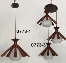 E27 energy saving bulb with brown wood Pendant Light Modern Pendant Glass Light Guzhen Lighting(0773-1P & 0773-3P )