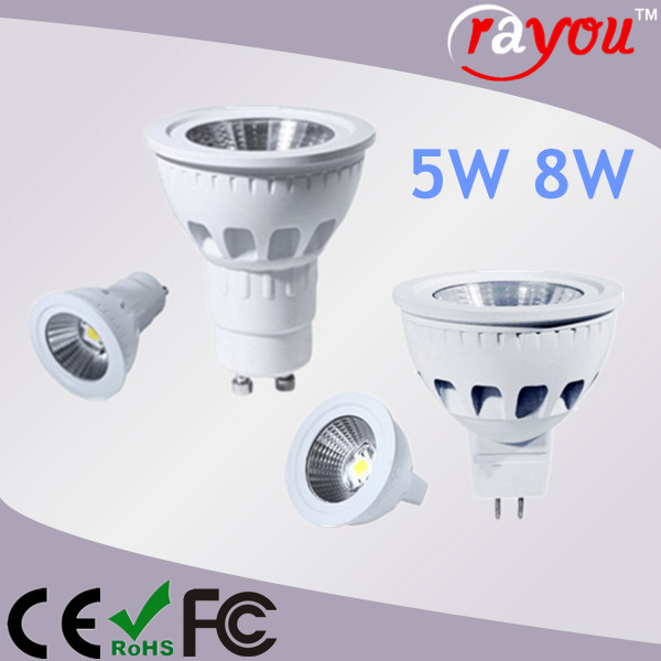 Dimmable gu10 led 35w halogen replacement, white finish cob spotlight, 5W GU10 led for interior lighting