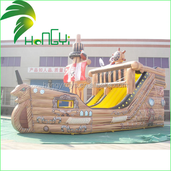 Cheap Customized PVC Funny Commercial Inflatable Bouncy Pirate Ship Slide for Sale