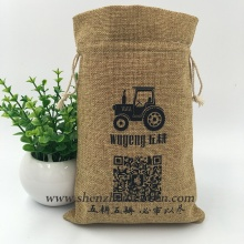 Custom Logo Natural Drawstring Jute Cashew Nut Bag