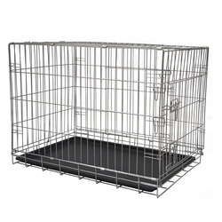 Portable Folded Dismountable Lockable Metal Wire Mesh dog Cage With ABS tray