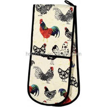 100% cotton fabric printing kitchen double oven mitten glove