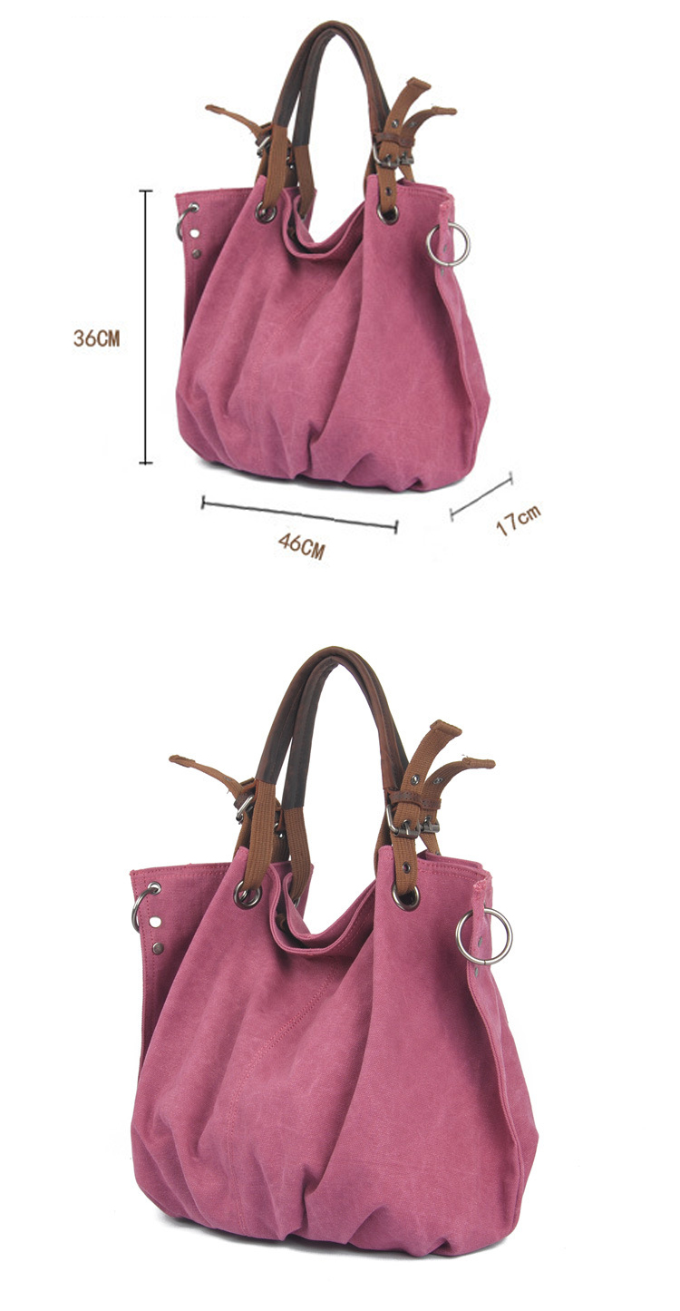 Fashion vintage retro design brand quality cotton canvas ladies hand hobo bag handbags for woman