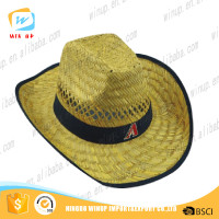 Winup Promotional custom design hollow cowboy straw hat straw paper hat ningbo