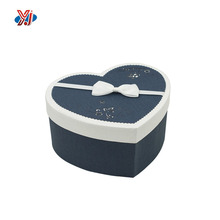 High End Empty Heart Shape Paper Gift Box with Ribbon Tie