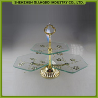 2 tier glass cake stand with metal flower decoration/wedding cake stand